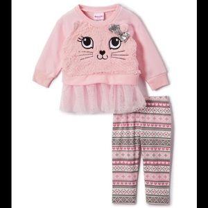 Nannette Pink Cat Bow Sweatshirt & Stripe Leggings